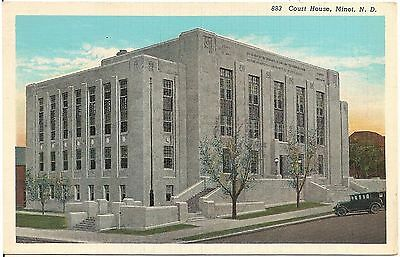 Court House in Minot ND Postcard 1945