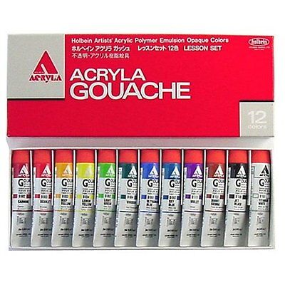 Holbein Acryla Gouache 12 Colors Lesson Set D410 20ml No.6