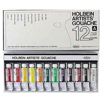 Holbein Artists' Gouache Artist 12 Color Set G710 Tube 15ml No.5