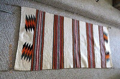 """VINTAGE Old Navajo Double Sided Saddle Blanket 62x29"""" from 1970's"""