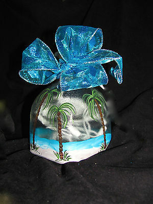 Hand Painted Wine / Patron Bottle Lights - Palm Trees, Tropical Beach