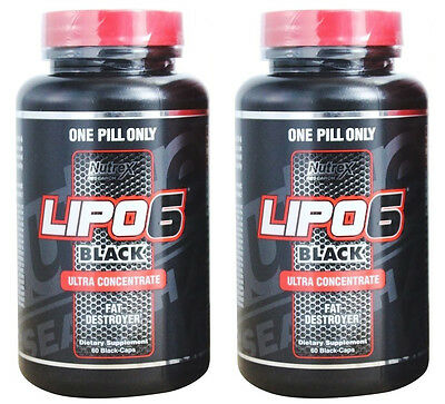 Lipo-6 Black Ultra Concentrated Weight Loss Supplement 2 Bottles 60 Count Nutrex
