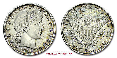 MORUZZI - United States of America BARBER HALF DOLLAR 1906 S Silver near EF