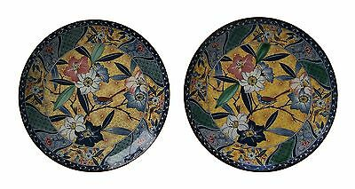 Arts & Crafts Style Transfer Decorated Chargers - Signed - Japan - 20th Century