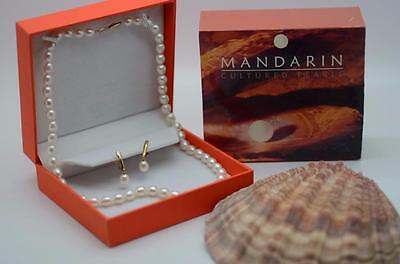 Mandarin Cultured Pearl Necklace 18 Inch and Earrings {55031} - B9