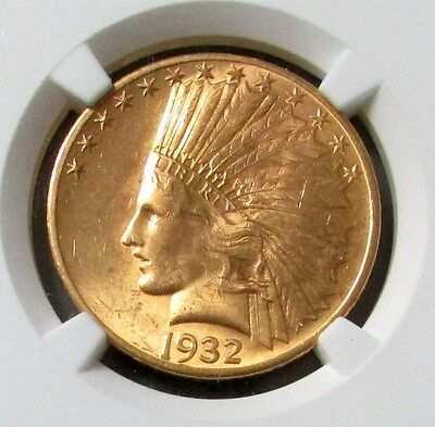 1932 Gold Us $10 Indian Head Eagle Coin Ngc Mint State 63