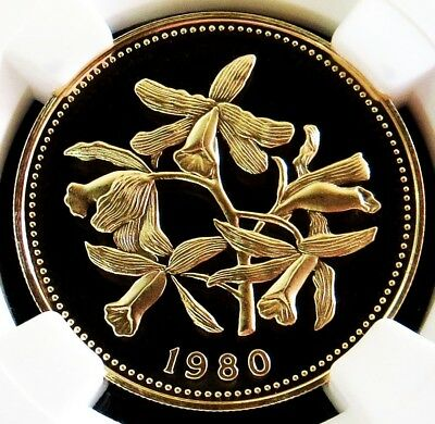 1980 Gold Belize $100 Dollar Orchids Coin Ngc Proof 69 Ultra Cameo