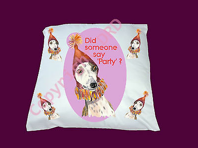 Cushion Whippet Dog in Party Hat,Cover or Full, 33cm sq Birthday Xmas Gift