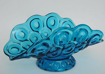 Gorgeous LE Smith Moon and Stars Pattern Depression Glass Large Blue Banana Boat