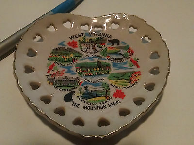 "Vintage West Virginia Souvenir Dish, Small Heart 4"" Very Nice Color & Gold Trim"