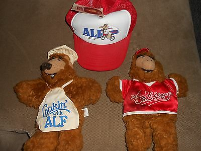 Alf 1 hat and 2 doll lot Cookin with Alf doll Orbiters doll hand puppets hat