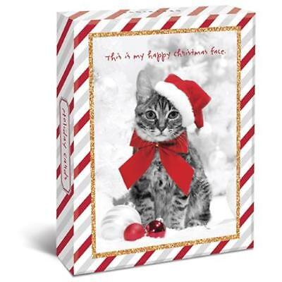 """Holiday Cats Boxed 4"""" x 6"""" Christmas Cards (20) Glitter & Foil Embellished"""