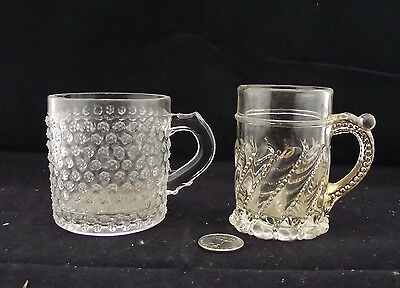 2 Eapg Childrens Glass Mugs 1 With Fancy Gold And Twist Pattern