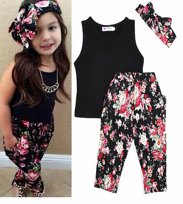 +T-shirt Infant Girls +Floral Pants Set  Toddler Kids Clothes Headband Outfits