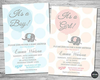 Elephant Baby Shower Personalised Invitation Invite Card Pink Silver Boy Girl