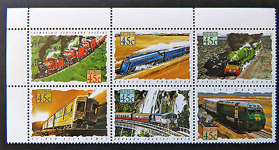 Australian Decimal Stamps:1993 Trains in Australia - Set of 6 with Tabs MNH
