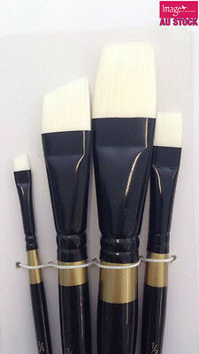 4pcs Set White Synthetic Brushes Short Handle Paint Brush Artist Painting BS1084