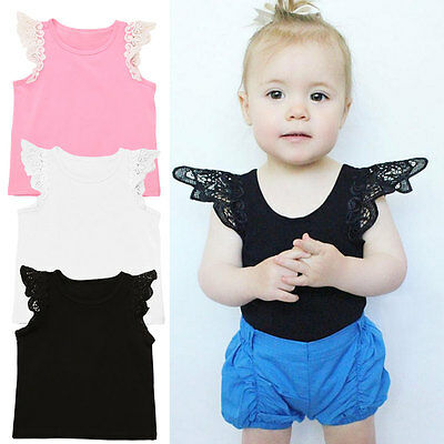 Toddler Kids Baby Girl Lace Flying Sleeve T-shirt Top Vest Cami Clothes Clothing