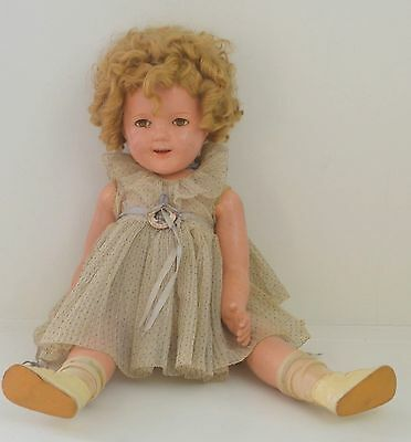 "1930s IDEAL SHIRLEY TEMPLE COMPOSITION DOLL 24"" TALL SS440"