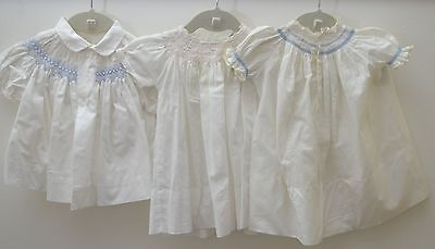 Beautiful Lot Of 3 Vintage Smocked Baby Dresses Ss297