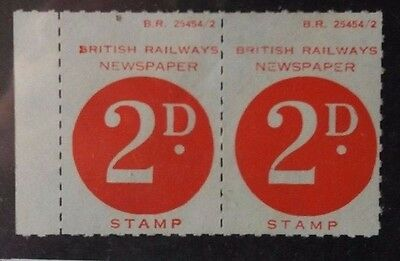 GREAT BRITAIN 1950s UNUSED PAIR OF BRITISH RAILWAYS TWO PENCE  NEWSPAPER STAMPS