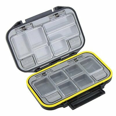 12 Compartments Storage Case Tackle Box Waterproof Black FK