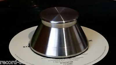 Stainless steel record stabilizer weight compatible with 45rpm adaptors