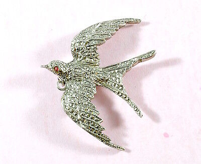 Vintage stunning large silver tone marcasite swallow brooch pendant