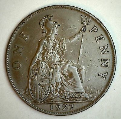 1927 Bronze One Pence UK One Penny Great Britain Coin XF