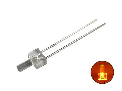 S396 - 50 Pcs LED 2mm ORANGE clear long Head Tower LEDs amber
