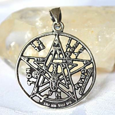 Tetragrammaton Pentagram Pendant Solid 925 Silver~Pagan~Magic~Talisman~Jewellery