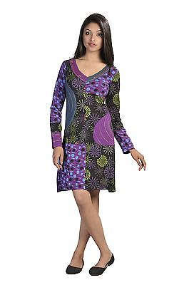 Ladies Long Sleeved Dress With Embroidery In Neckline -Purple Magnolia