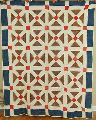"EYE CATCHING Vintage 1880's ""Old Italian Block"" Lattice Antique Patchwork Quilt!"