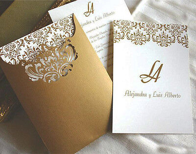 100 Personalised Western Indian Muslim Gold Ivory Wedding invitations Cards