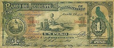 GUATEMALA 1899 BANCO OCCIDENTE EN QUEZALTENANGO ~ 1 PESO PS-173b BEAUTIFUL NOTE