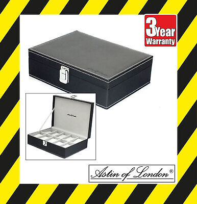Aston Of London Gents Black Pu Leather 10 Watch Case Mens Jewellery Box Watchbox