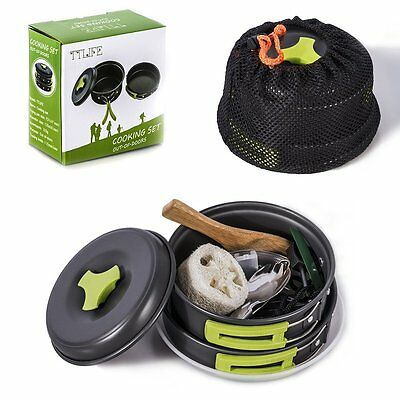 Camping Cookware Kit Portable Pan Pot 12 Sets Outdoor Backpacking Hiking Gear