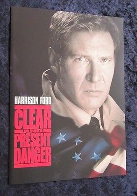 CLEAR AND PRESENT DANGER fold out synopsis and credits HARRISON FORD, JACK RYAN