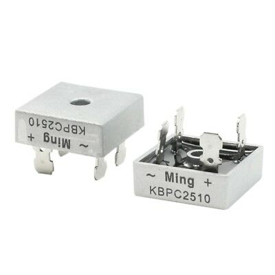 2 Pcs Square Silver Tone Head 1000V 25A Full Wave Bridge Rectifier CP