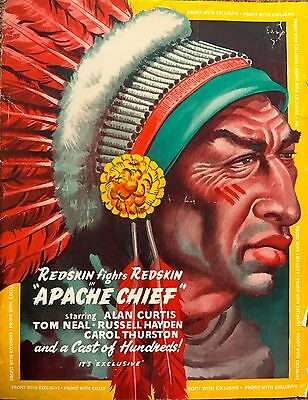 1949 Original Western Film Flyer For 'Apache Chief' Starring Alan Curtis