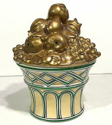 Antique ALADIN LUXE French Porcelain ART DECO Covered Bowl FRUIT BASKET TOPIARY