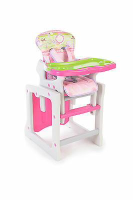 2 In 1 Baby Highchair High Chair Luxury Feeding Chair + Table Set Pink Girl
