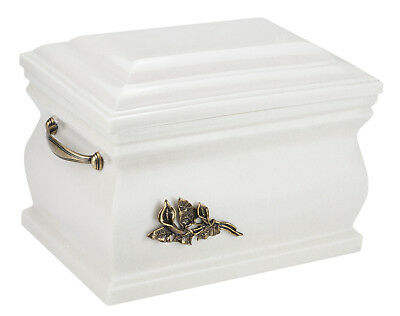 White Composite Casket Cremation Ashes Urn For Adult With Brass Calla Lily