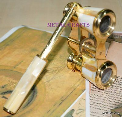 Antique Brass Binoculars Vintage Classic Victorian Opera Glasses Mother Of Pearl