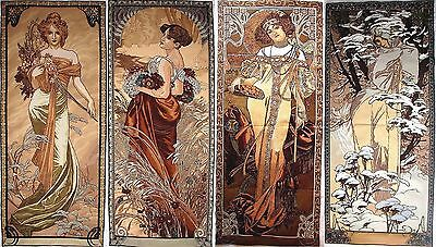 "Set Of 4 Alphonse Mucha 60"" X 25"" Seasons Belgian Tapestry Wall Hangings"