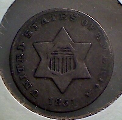 1851 3CS Three Cent Silver ,  nice original fine