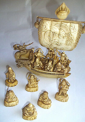 Vintage Celluloid Dragon Boat With Immortals Plus Six Immortal Figurines, Japan