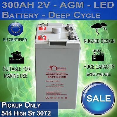 """300AH 2V """"LED"""" - AGM Battery Deep Cycle 300 ah (Pick Up Only)"""