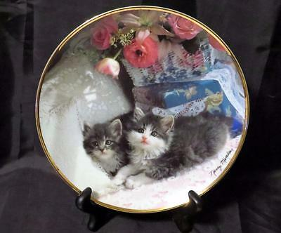 "Franklin Mint Heirloom Fine Porcelain Plate ""ladies Of Leisure"" Cats Kittens Coa"