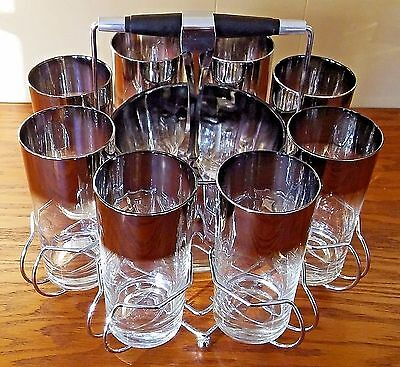 Vintage Silver Fade Caddy Ice Bucket Tong 12oz Glasses Mid Century Queens Luster